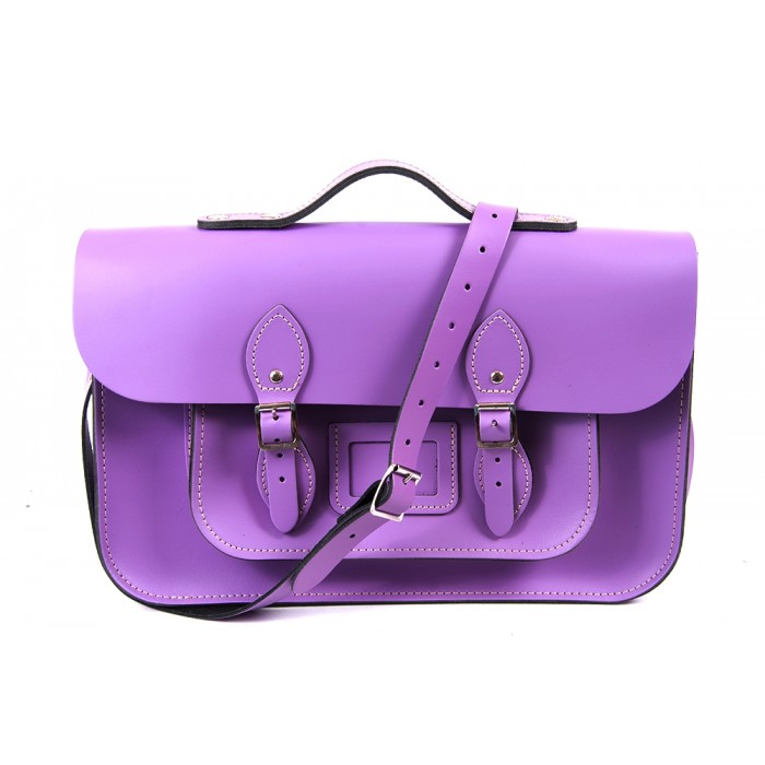 "15"" Bellflower English Leather Satchel - Magnetic Handleable"