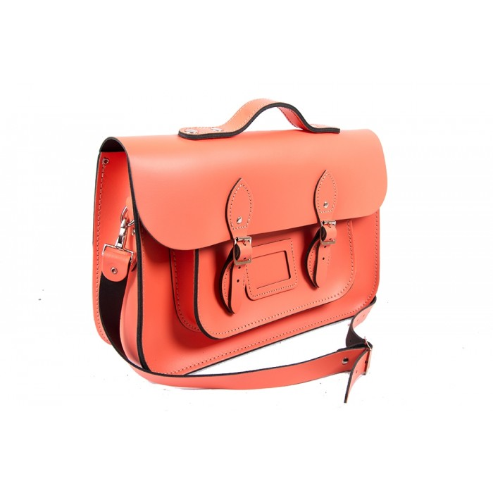 "15"" Salmon English Leather Satchel - Magnetic Handleable"