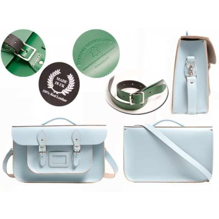 "15"" Baby Blue English Leather Satchel - Briefcase"