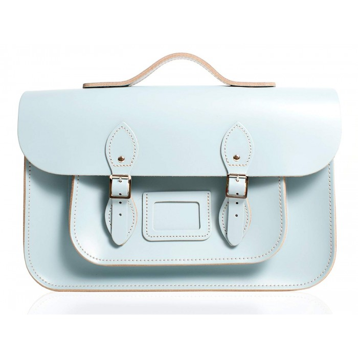"12"" Baby Blue English Leather Satchel - Handleable"