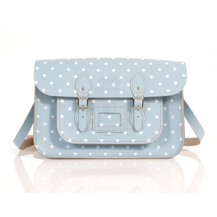 "15"" Baby Blue Polka Dots English Leather Satchel"