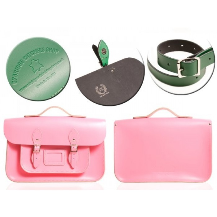 "15"" Baby Pink English Leather Satchel - Magnetic Handleable"