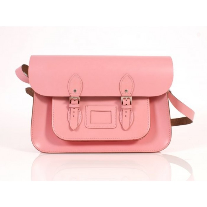 "15"" Baby Pink English Leather Satchel"