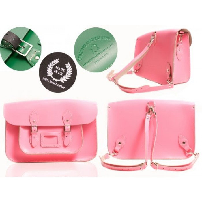"""15"""" Baby Pink English Leather Satchel - Backpack"""