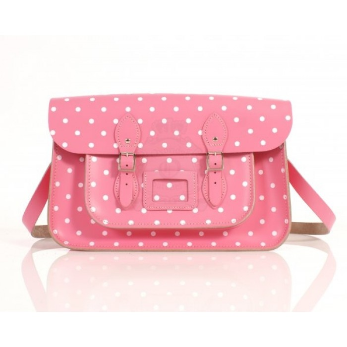 "15"" Baby Pink PolkaDots English Leather Satchel"