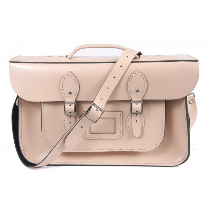 "15"" Cloud Cream English Leather Satchel - Magnetic Briefcase"