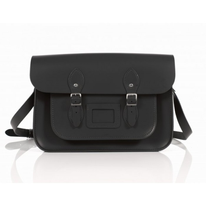 "15"" Black English Leather Satchel - Circle"