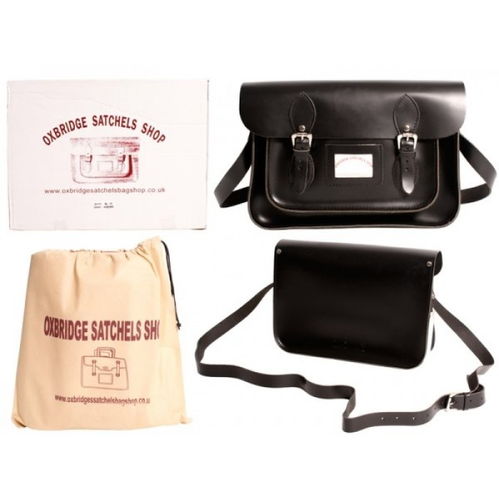 "11"" IN Black Leather Satchel"