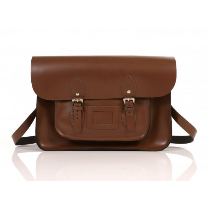 "15"" Brown English Leather Satchel"