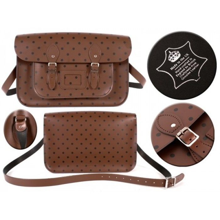 "15"" Brown Polka Dots English Leather Satchel"