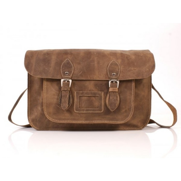 "15"" Hunter Brown English Leather Satchel - Magnetic"
