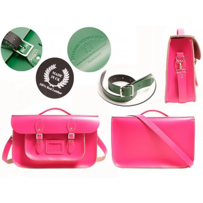 """15"""" Pink English Leather Satchel - Briefcase"""