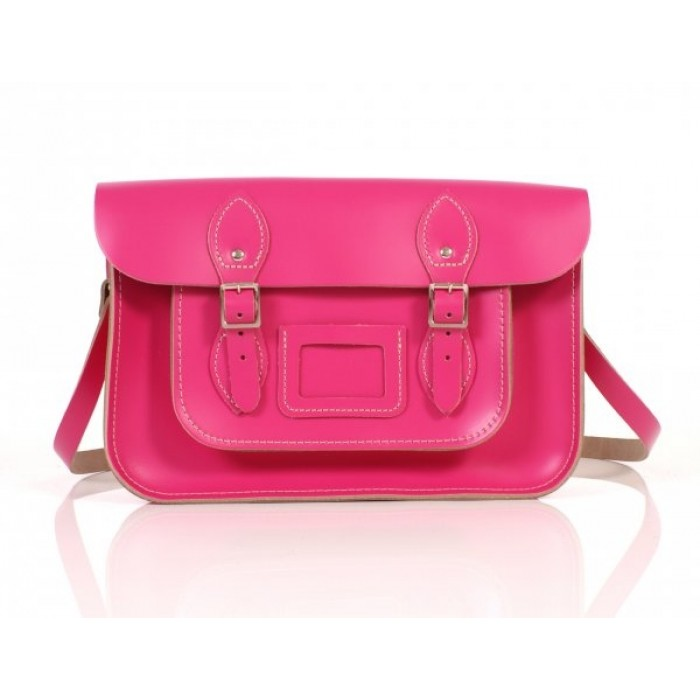 "13"" Pink English Leather Satchel"