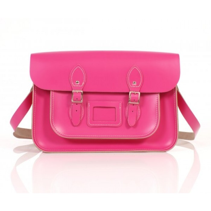 "14"" Pink English Leather Satchel"