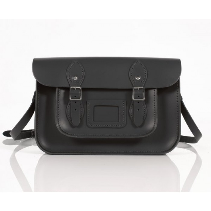 "12"" Black Leather Satchel - New"