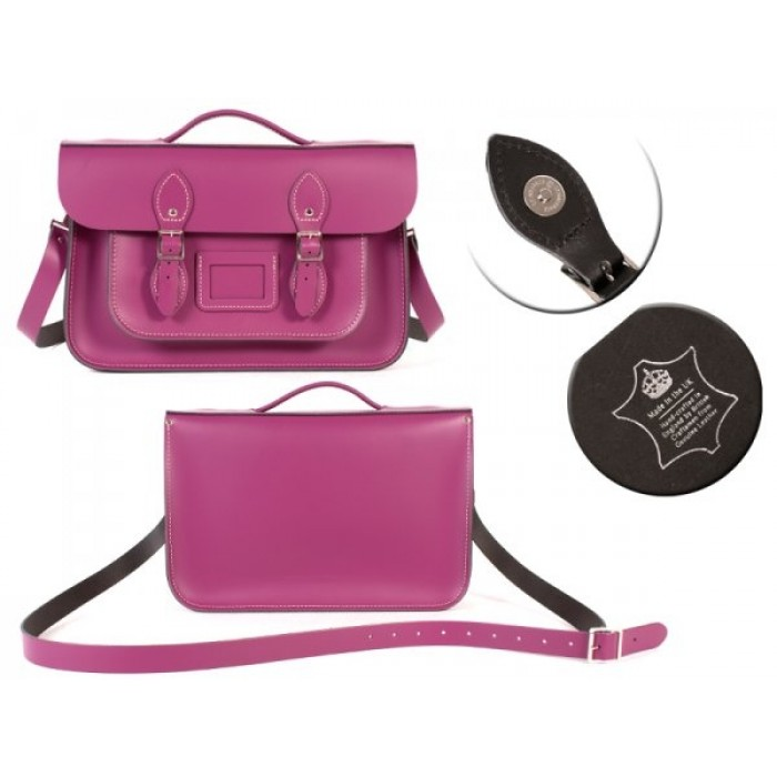 "14"" Fuschia English Leather Satchel Magnetic Briefcase"