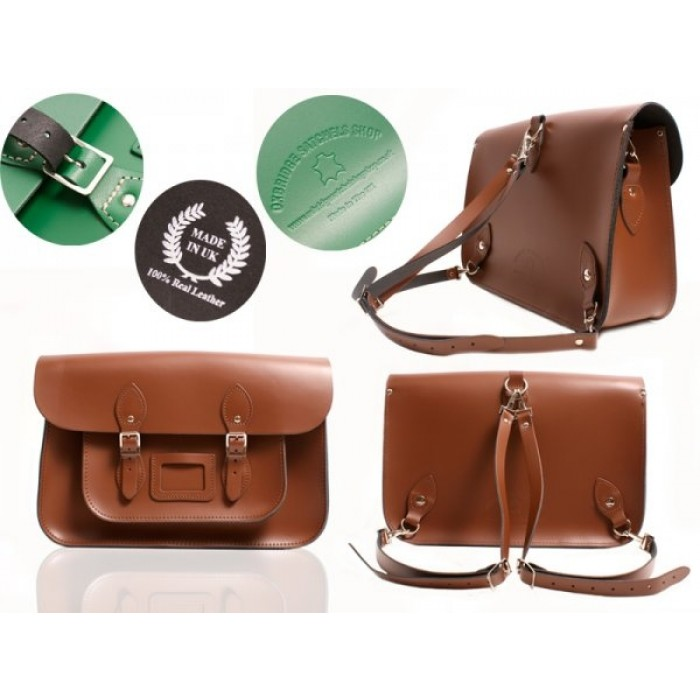 "15"" Chestnut Brown English Leather Satchel - Backpack"