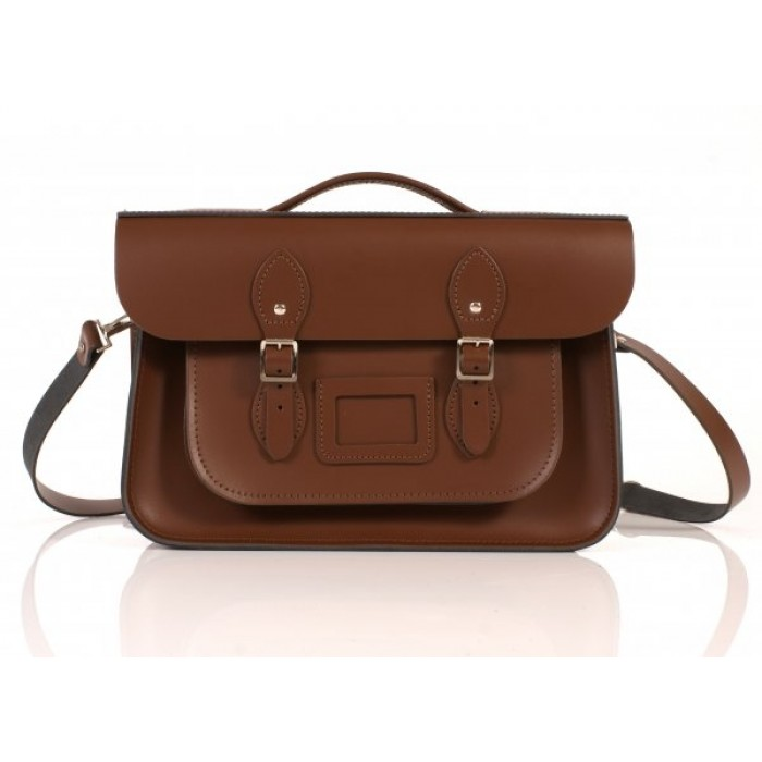 """14"""" Brown English Leather Satchel Briefcase"""