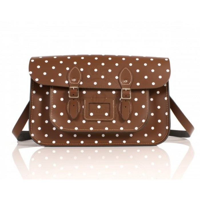 "15"" Chestnut Polka Dots English Leather Satchel"