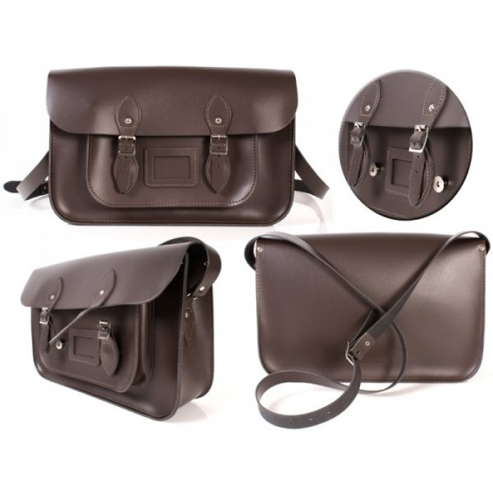 "15"" Chocolate Brown English Leather Satchel - Magnetic"