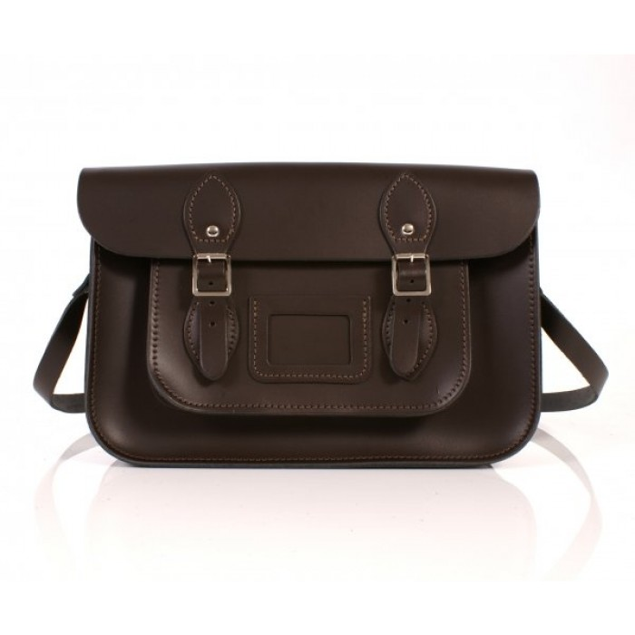 "13"" Brown English Leather Satchel"