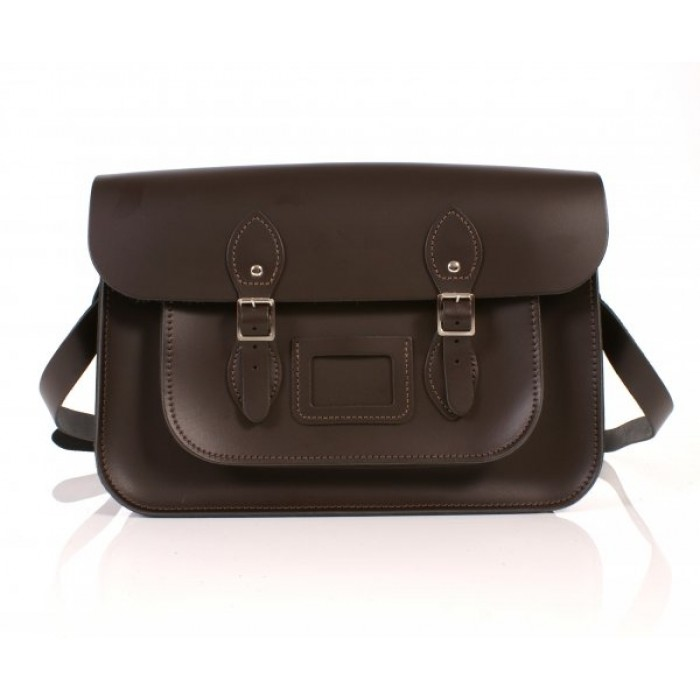 "14"" Chocolate Brown English Leather Satchel"