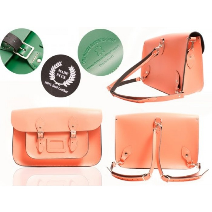"""15"""" Coral Reef English Leather Satchel - Backpack"""