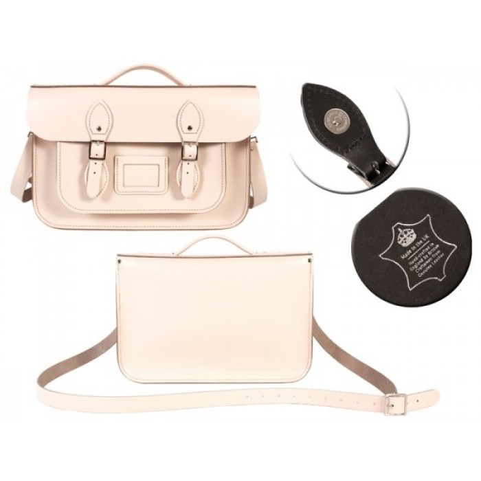 "14"" White English Leather Satchel Magnetic Briefcase"
