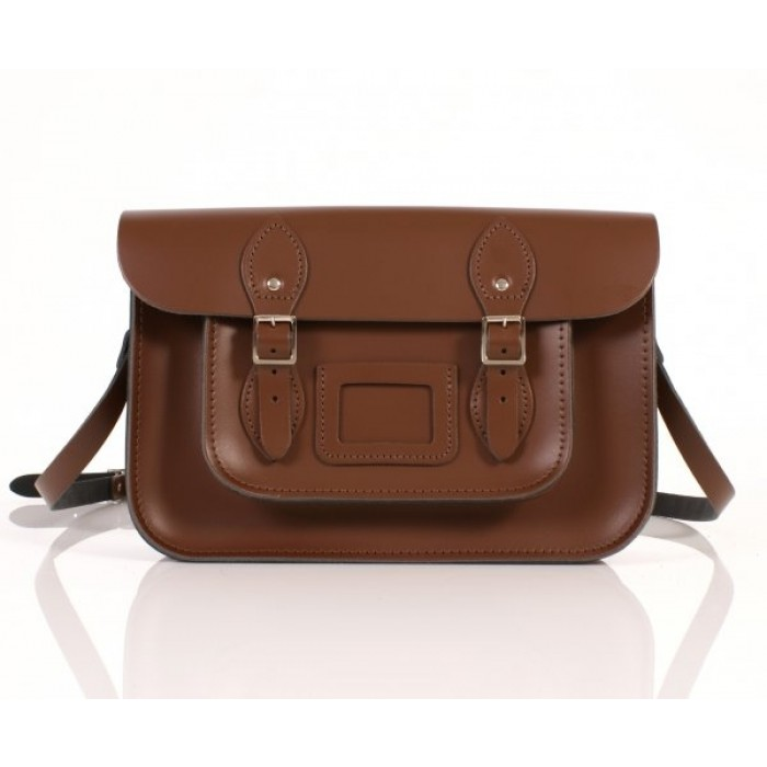 "12"" Chestnut Brown Leather Satchel"