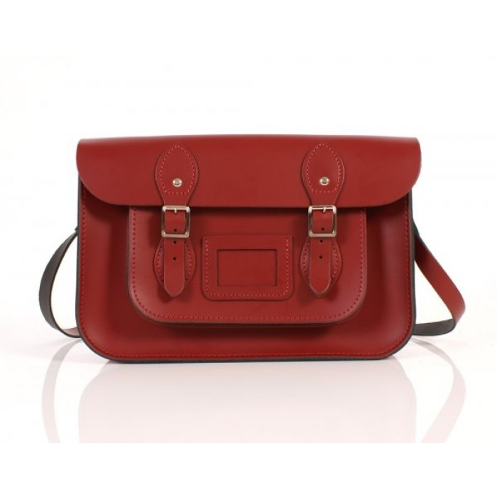 "12"" Red Leather Satchel"