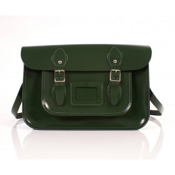 "13"" Racing Green Patent English Leather Satchel"
