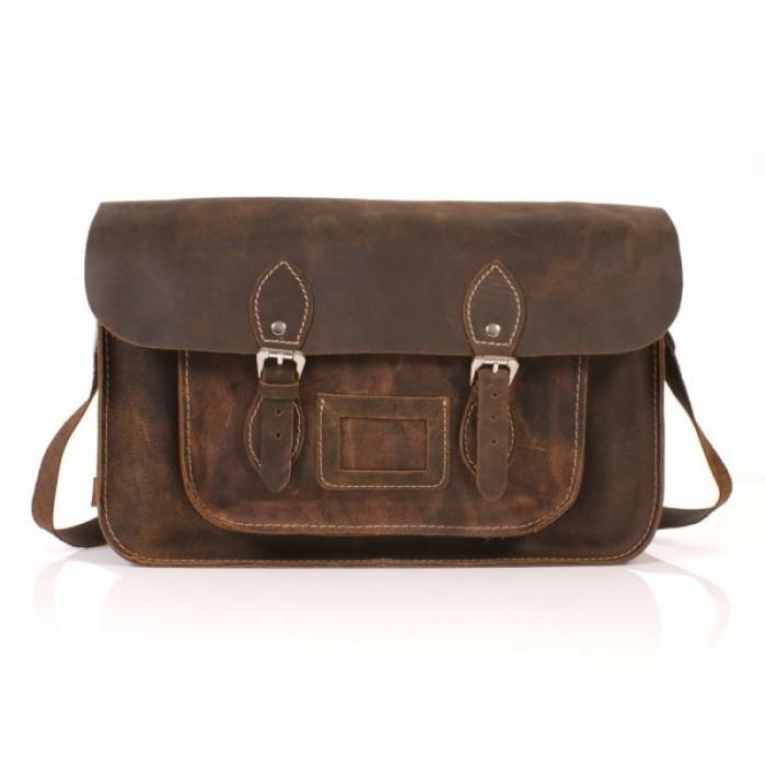 "15"" Hunter Dark Brown English Leather Satchel - Magnetic"