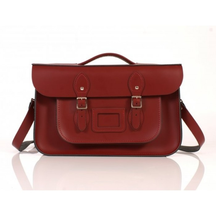 "15"" Wine Red English Leather Satchel - Briefcase"
