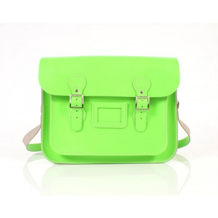 "13"" Dayglow Green English Leather Satchel - Circle"