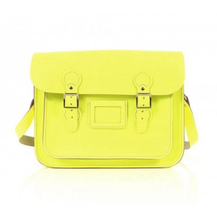 "13"" Dayglow Yellow English Leather Satchel - Circle"