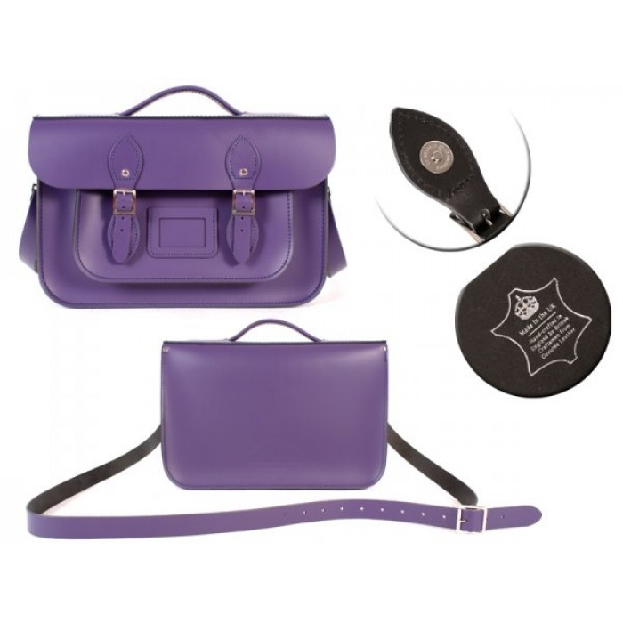 "14"" Light Purple English Leather Satchel Magnetic Briefcase"