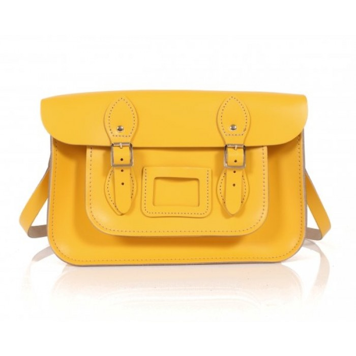 "13"" Double Yellow English Leather Satchel"
