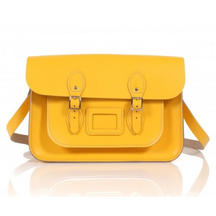 "14"" Double Yellow English Leather Satchel"