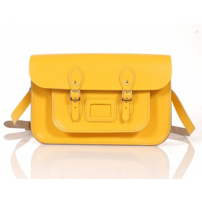 "15"" Double Yellow English Leather Satchel"