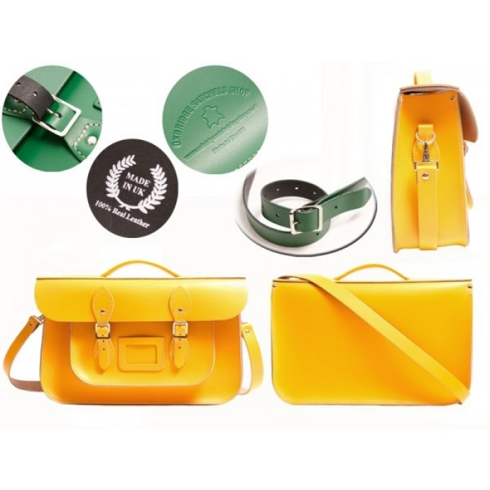 "15"" Double Yellow English Leather Satchel - Briefcase"
