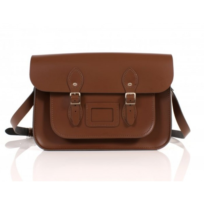 "14"" Chestnut Brown English Leather Satchel"