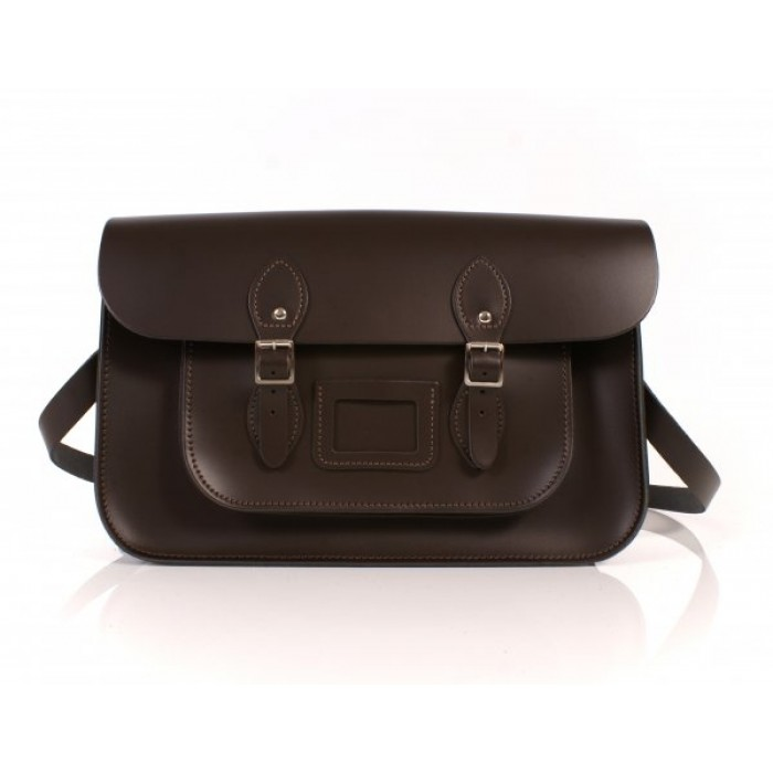 "15"" Chocolate Brown English Leather Satchel"
