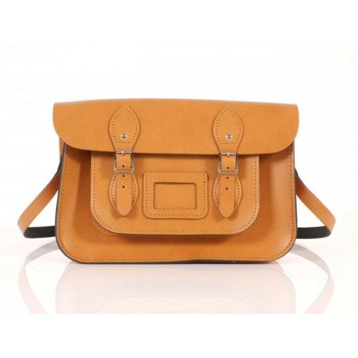 "13"" Orange English Leather Satchel"