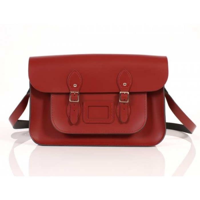 "14"" Red English Leather Satchel"