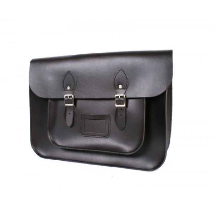 "14"" Flat Black English Leather Satchel"