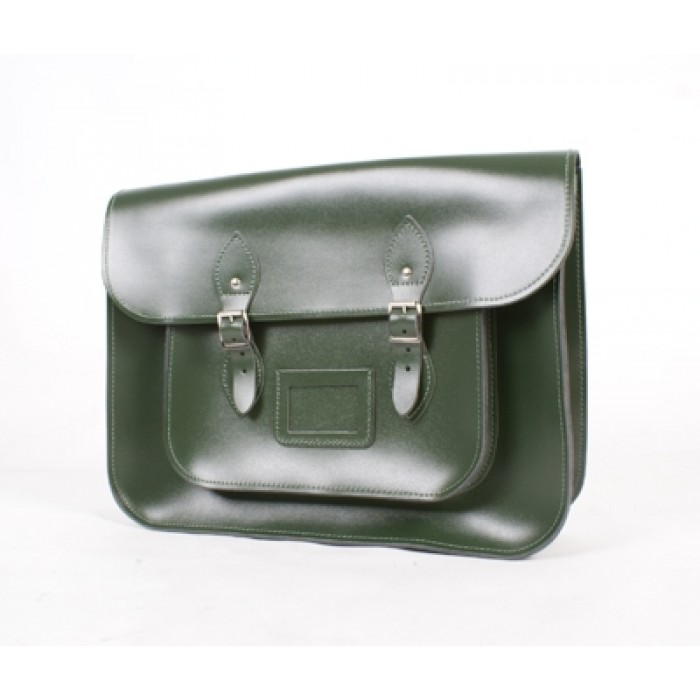 "14"" Flat Green English Leather Satchel"