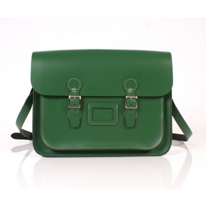 "15"" Sherwood Green English Leather Satchel - Circle"