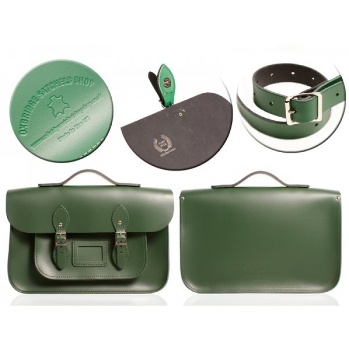 "15"" Green English Leather Satchel - Magnetic Handleable"