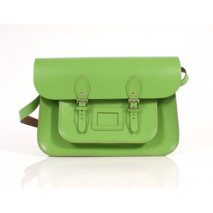 "15"" Light Green English Leather Satchel"