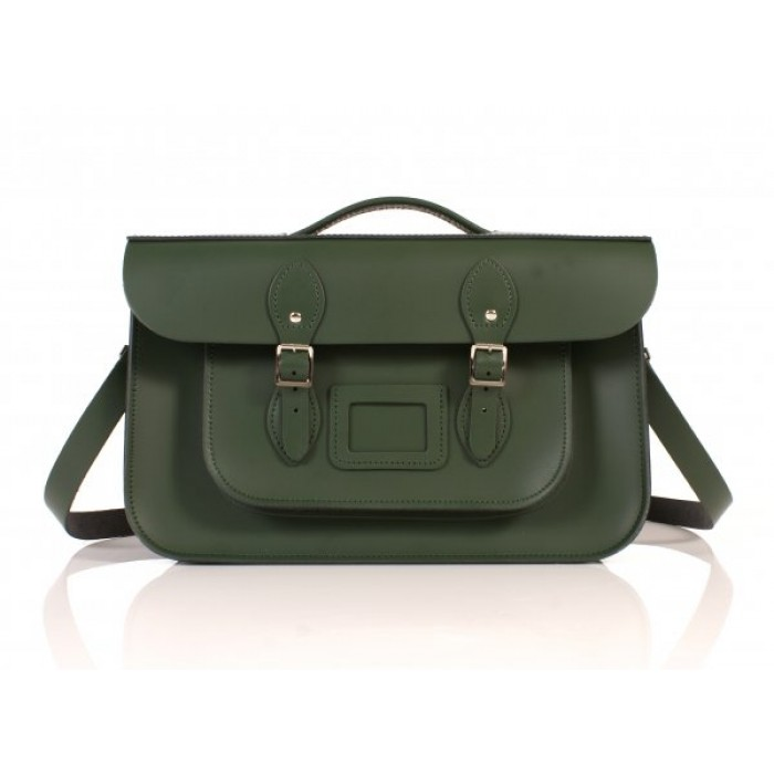"15"" Green English Leather Satchel - Briefcase"